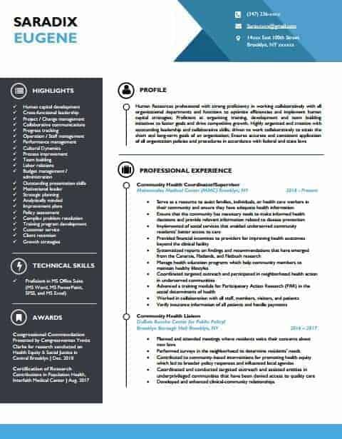 Human resources resume