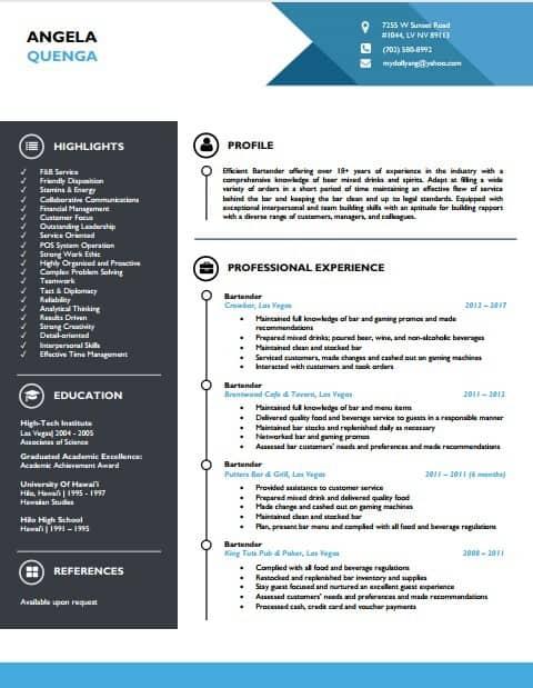 Bartender resume template