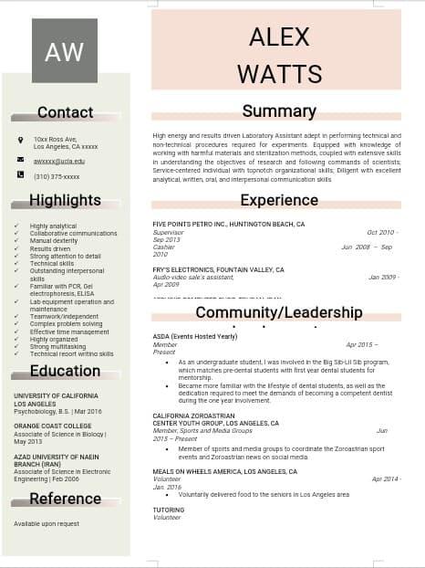 lab-assistant-resume